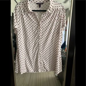 White and red polkadot collared button-down shirt